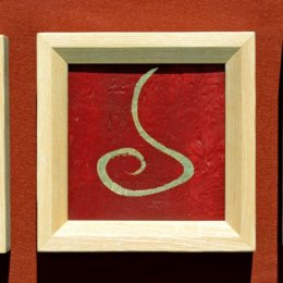 Jahresringfurnier, Pigmente, Blattgoldca 20,7 x 20,7 cm
