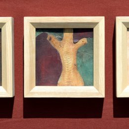 Fischleder, Perlmutt, Wurzelmaser, ca 20,7 x 20,7 cm